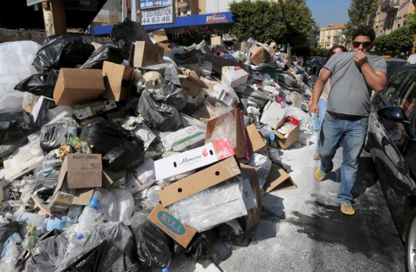 Trash pile in Beirut, Lebanon (photo credit: REUTERS)
