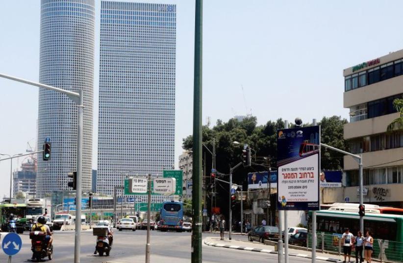 A sign warns of upcoming light rail construction on Tel Aviv's Hamasger Street (photo credit: MARC ISRAEL SELLEM)
