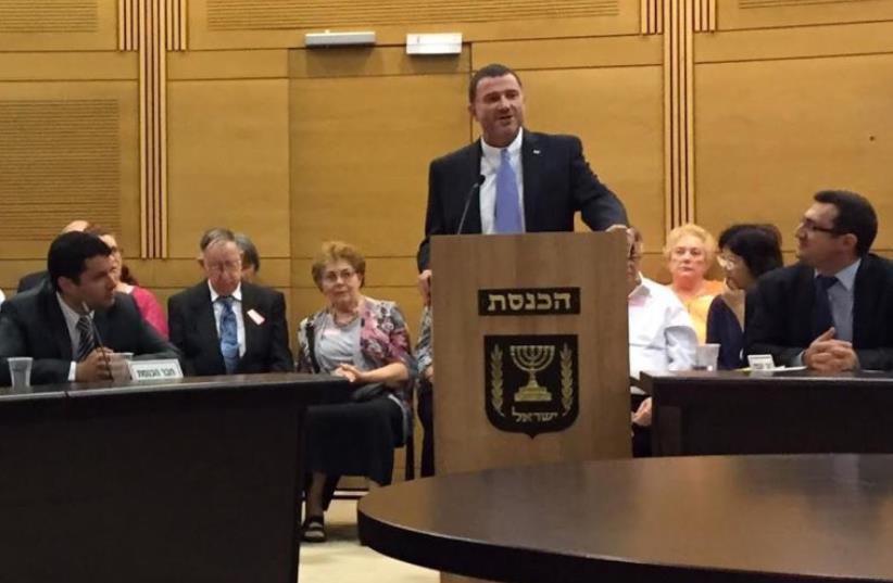 Left to Right: KCAC Director Josh Reinstein, Speaker of the Knesset Yuli Edelstein, Chairman of the KCAC MK Robert Ilatov (photo credit: RENEE SHARON)
