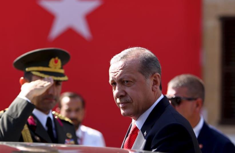 Turkish President Recep Tayyip Erdogan visits North Cyprus (photo credit: REUTERS)