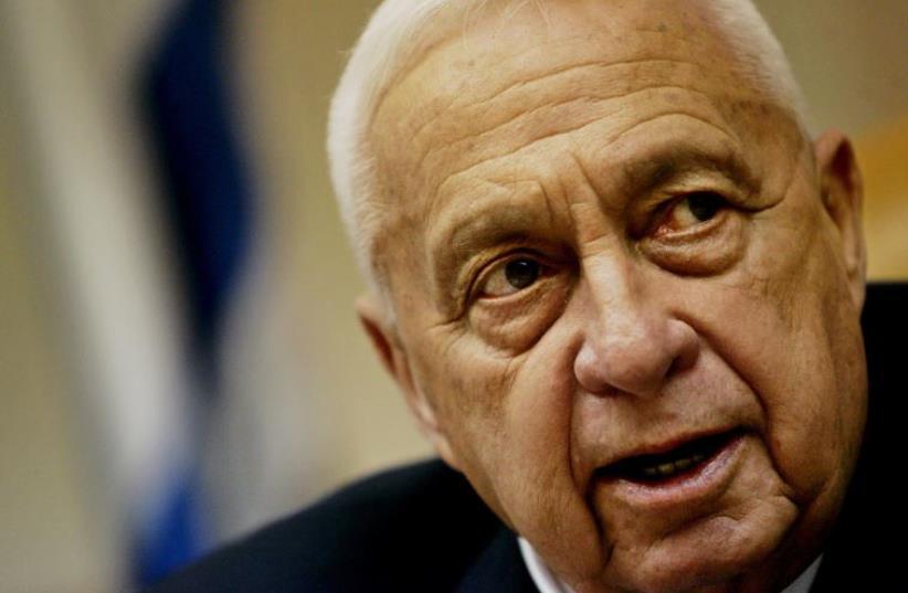 Then-prime minister Ariel Sharon speaks to his cabinet in Jerusalem on September 25, 2005 (photo credit: REUTERS)