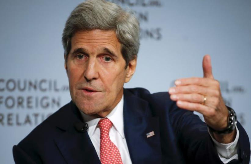 US Secretary of State John F. Kerry speaks to the audience as he discusses the Iran nuclear deal in New York (photo credit: REUTERS)