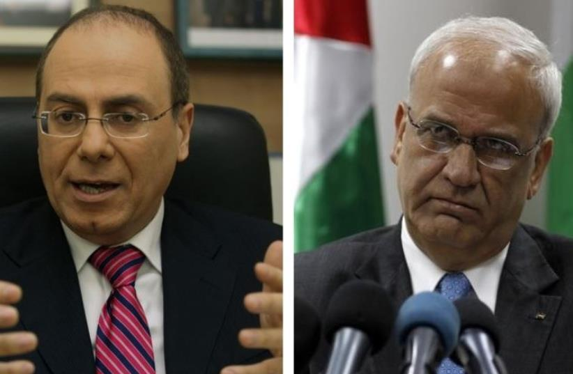 Interior Minister Silvan Shalom (L) and PLO chief negotiator Saeb Erekat (photo credit: MARC ISRAEL SELLEM/THE JERUSALEM POST,REUTERS)