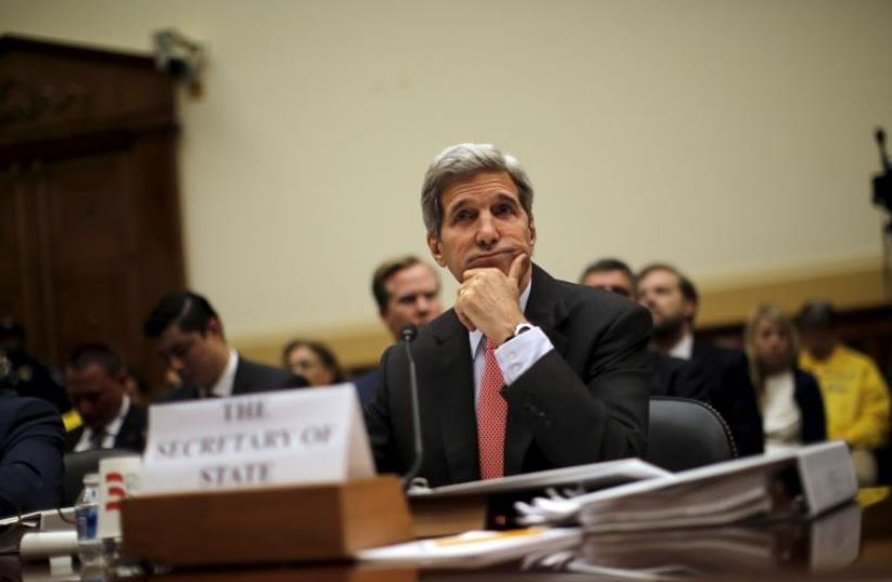US Secretary of State John Kerry testifies before a House Foreign Affairs Committee hearing on the Iran nuclear agreement in Washington, July 28, 2015.  (photo credit: REUTERS)