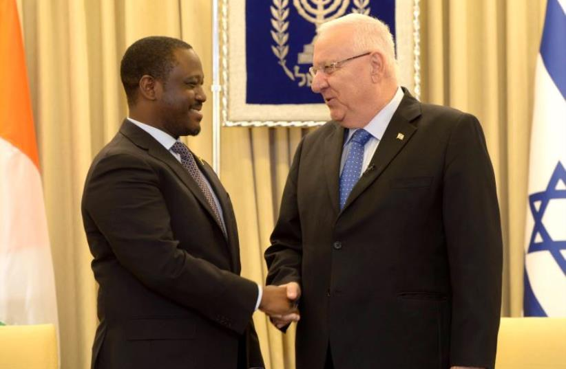 President Reuven Rivlin meets with the president of The Ivory Coast's National Assembly (photo credit: PRESIDENTIAL SPOKESPERSON OFFICE)