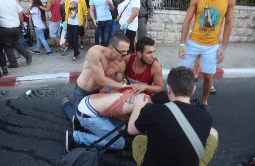 Stabbing at J'lem gay-pride parade (photo credit: MARC ISRAEL SELLEM/THE JERUSALEM POST)