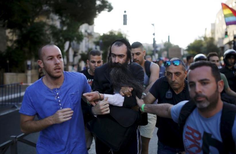 Attack at Jerusalem Gay Pride Parade (photo credit: REUTERS)