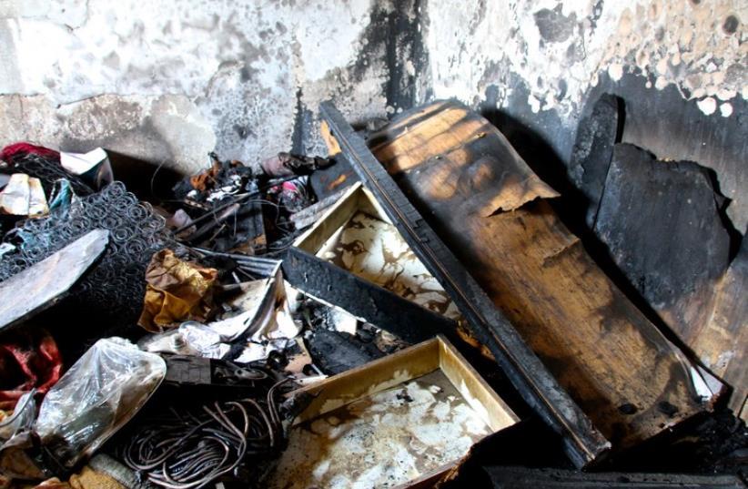 The bedroom where the Dawabsha family slept when Israeli terrorists threw a molotov cocktail