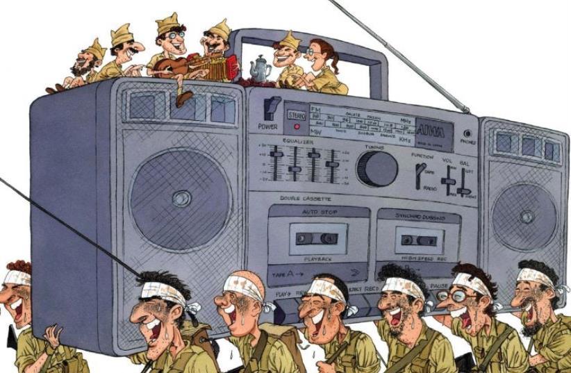'SOLDIERS AND THE RADIO' by Israeli political cartoonist Michel Kishka. (photo credit: Courtesy)
