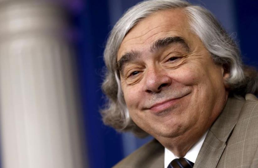 US Energy Secretary Ernest Moniz smiles as he addresses reporters during the daily press briefing at the White House in Washington (photo credit: REUTERS)