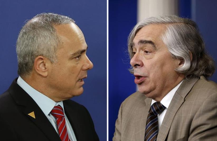 Steinitz and Moniz (photo credit: FREEK VAN DEN BERGH / POOL / AFP,REUTERS)