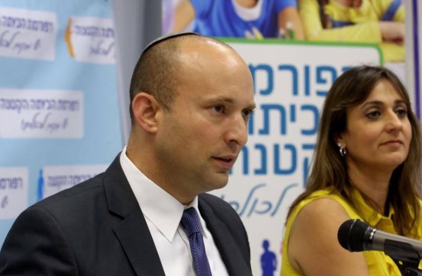 Education Minister Naftali Bennett announces small classroom reform (photo credit: SASSON TIRAM)