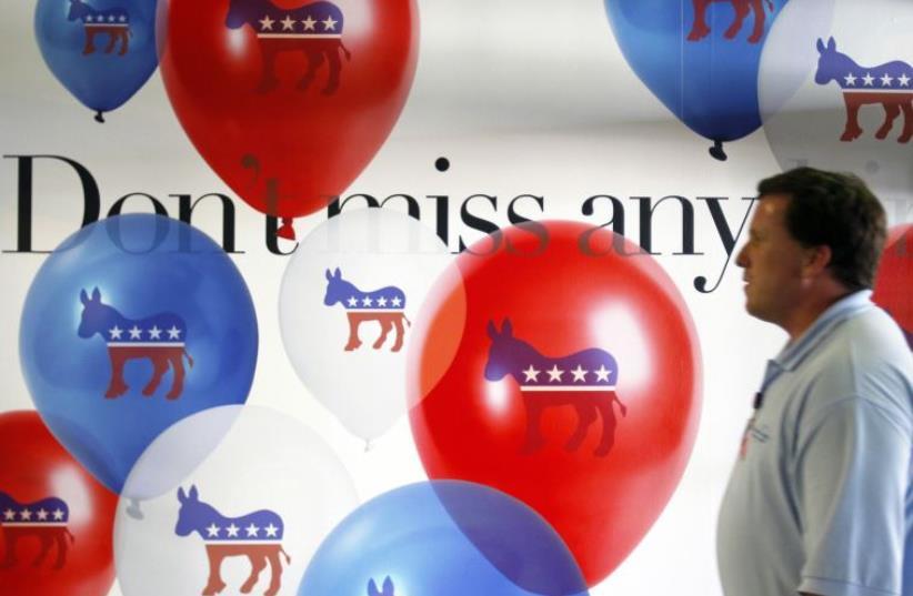 Democratic Party emblem. (photo credit: JESSICA RINALDI / REUTERS)