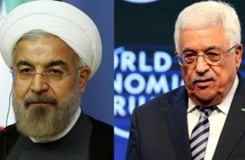 PA President Mahmoud Abbas and Iranian President Hassan Rouhani (photo credit: REUTERS)