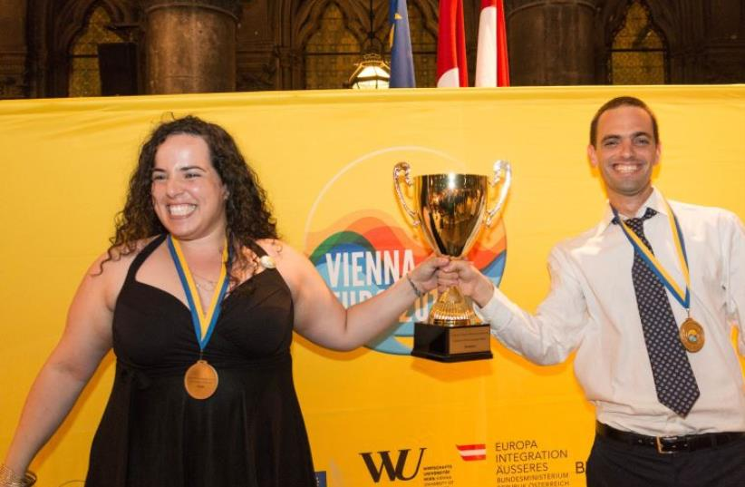 Tel Aviv University Debating Society wins first place at European Universities Debating Championships (photo credit: MANUEL J. ADAMS)