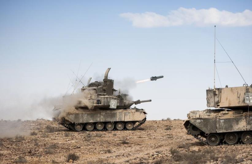 A TAMUZ missile flies through the sky (photo credit: IDF SPOKESPERSON'S UNIT)