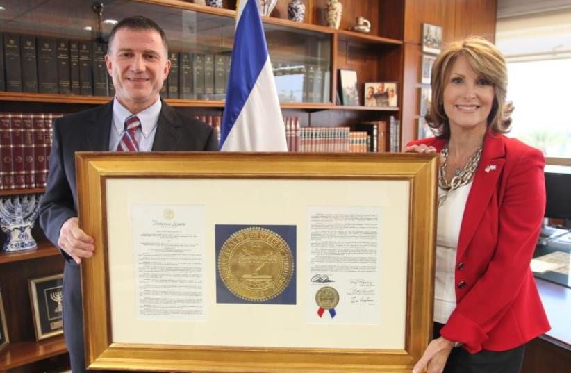 Laurie Cardoza-Moore with Yuli Edelstein at the Knesset recently (photo credit: Courtesy)