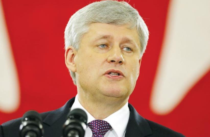 Canada's Prime Minister Stephen Harper speaks at a campaign stop in Toronto last week. (photo credit: CHRIS HELGREN/REUTERS)