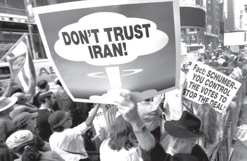 Anti-Iran protest (photo credit: MIKE SEGAR / REUTERS)