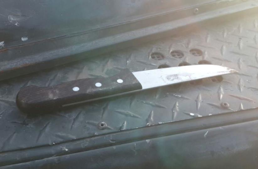 Knife at scene of West Bank stabbing, August 15, 2015 (photo credit: ISRAEL BORDER POLICE SPOKESMAN)
