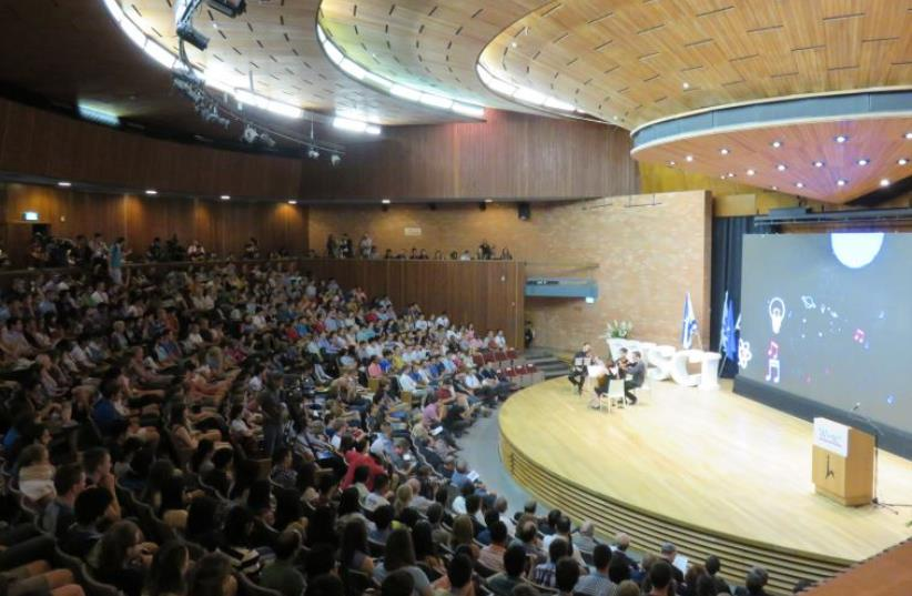 Students in Hebrew University's Wise Auditorium (photo credit: JUDY SIEGEL-ITZKOVICH)
