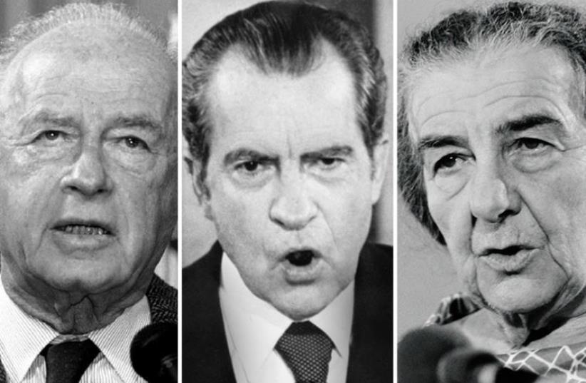 Richard Nixon, Yitzhak Rabin and Golda Meir (photo credit: GABRIEL DUVAL / AFP,AFP FILES / AFP,REUTERS)