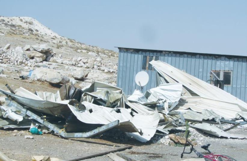 THE REMAINS left after the IDF demolished shacks belonging to Beduin living near Ma'aleh Adumim (photo credit: B'TSELEM)