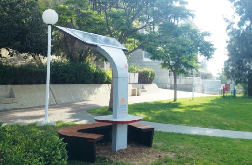 Solar-powered cellphone charging stations at Ben-Gurion University of the Negev in Beersheba (photo credit: BEN GURION UNIVERSITY OF THE NEGEV)