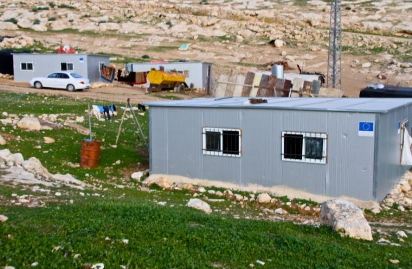 Illegal EU funded Palestinian structures in the area of Kfar Adumim.  (photo credit: TOVAH LAZAROFF)
