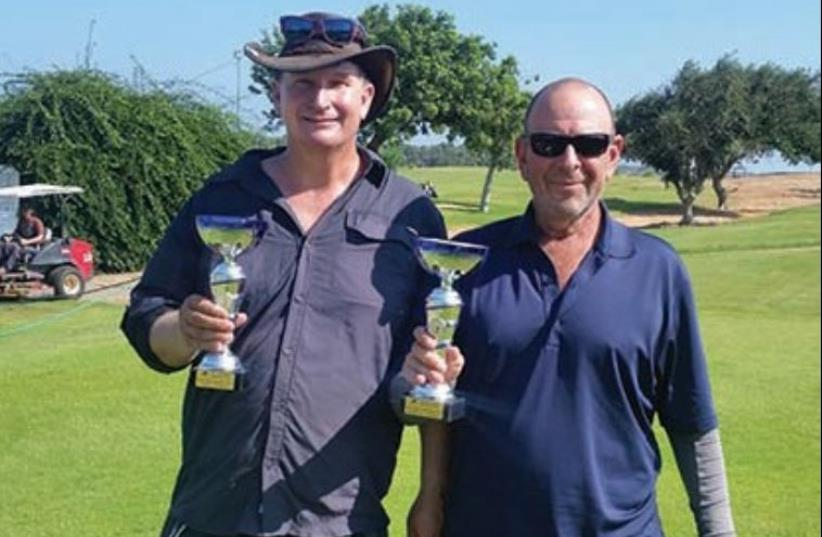 GREG ELIOT (left) and Moshe Nessis pose after their Ga'ash Monthly Medal wins. (photo credit: Courtesy)
