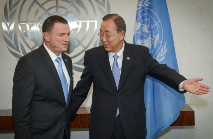 Ban Ki-Moon and Yuli Edelstein (photo credit: SHACHAR AZRAN NEFESH B'NEFESH)