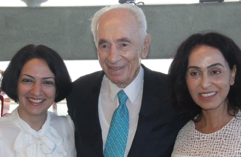 Shimon Peres with Maryam Faghihimani and Rita (photo credit: YOSEF AVI YAIR ENGEL)