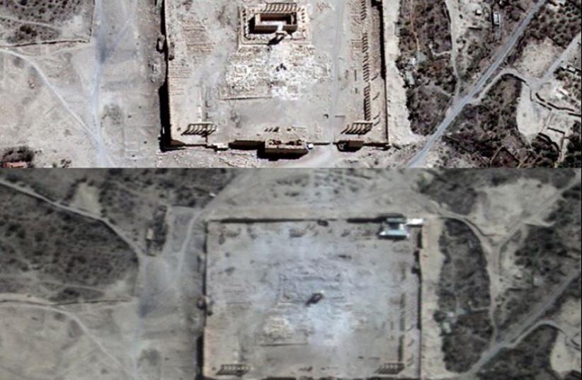 Temple of Bel, Palmyra  (photo credit: UNITAR-UNOSAT / AFP)
