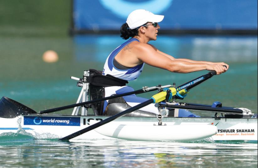 Israeli row er Moran Samuel booked her place at the Rio 2016 Paralympics after advancing yesterday to the final of the arms-shoulders single scull 1,000- meter competition at the World Rowing Championships in Aiguebelette, France. (photo credit: DETLEV SEYB)