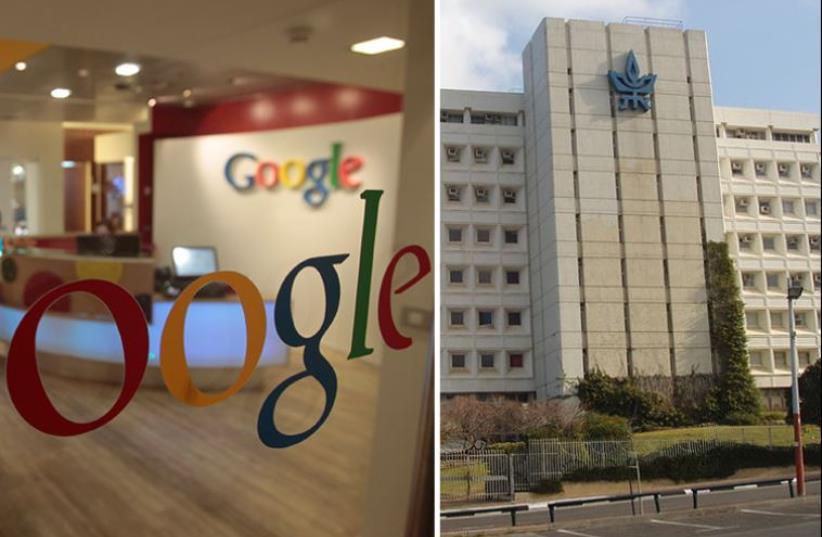Google office in Tel Aviv [L] Tel Aviv University campus (photo credit: WIKIMEDIA COMMONS/DAVID SHAY,REUTERS)