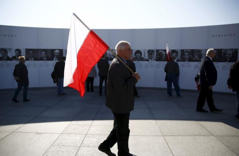 Exhibition marking the fifth anniversary of the crash of the Polish government plane in Smolensk, Russia, that killed 96 people on board including the late President Kaczynski and his wife Maria. (photo credit: REUTERS)