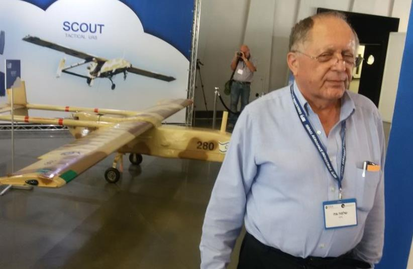 APG Director stands next to the IAI-made Scout drone, developed in the 1970s.  (photo credit: YAAKOV LAPPIN)