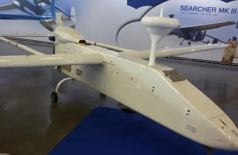 IAI's Searcher III drone, exhibited on Monday at the iHLS AUS&R exhibition in Rishon Lezion (photo credit: YAAKOV LAPPIN)