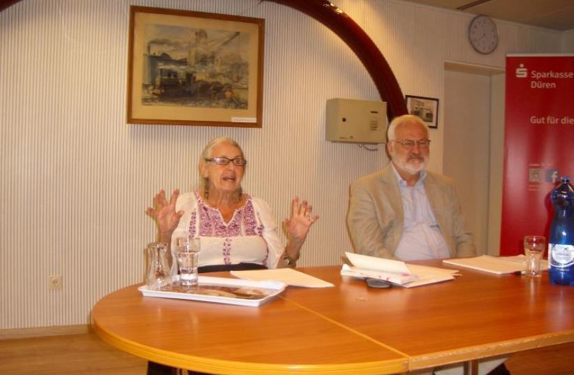 Lillian Rosengarten delivering talk in Düren (photo credit: Courtesy)