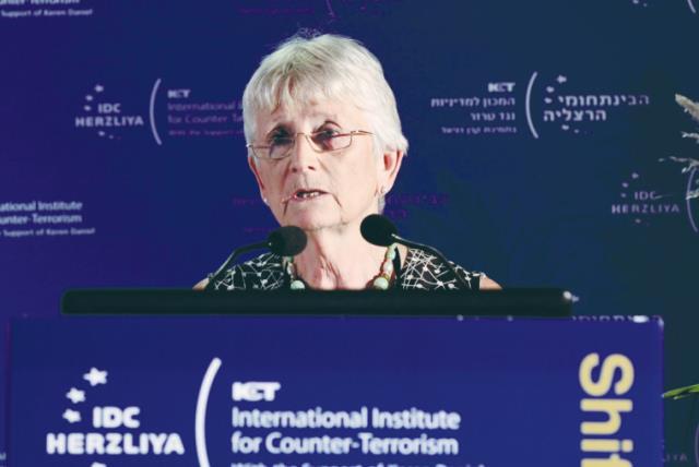 BARONESS PAULINE Neville-Jones from the UK speaks at the International Institute For Counter-Terrorism conference in Herzliya yesterday. (photo credit: TOMER NEUBERG)