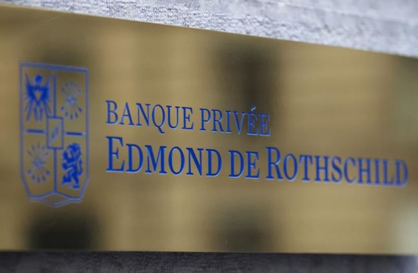 A logo of Banque Privee Edmond de Rothschild is seen on the bank building in Geneva (photo credit: REUTERS)