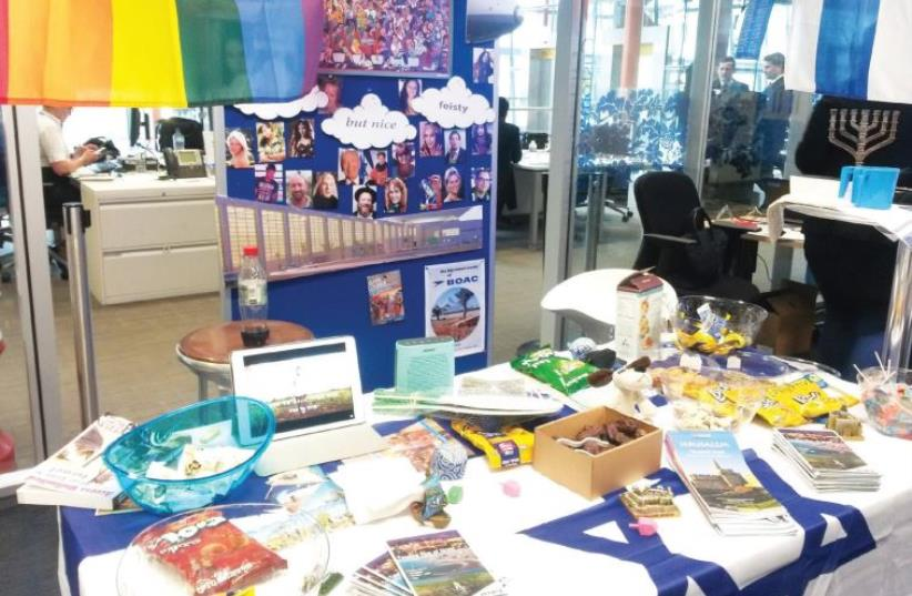 THE ISRAEL table at the British Airways 'Cultural Roadshow Extravaganza' at Heathrow Airport is seen earlier this month (photo credit: AMY SPIRO)