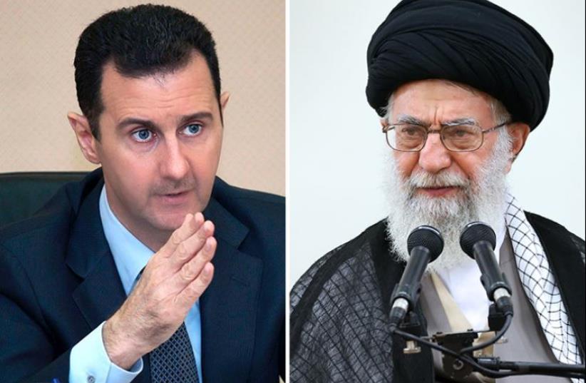 Khamenei and Assad (photo credit: KHAMENEI.IR / AFP)