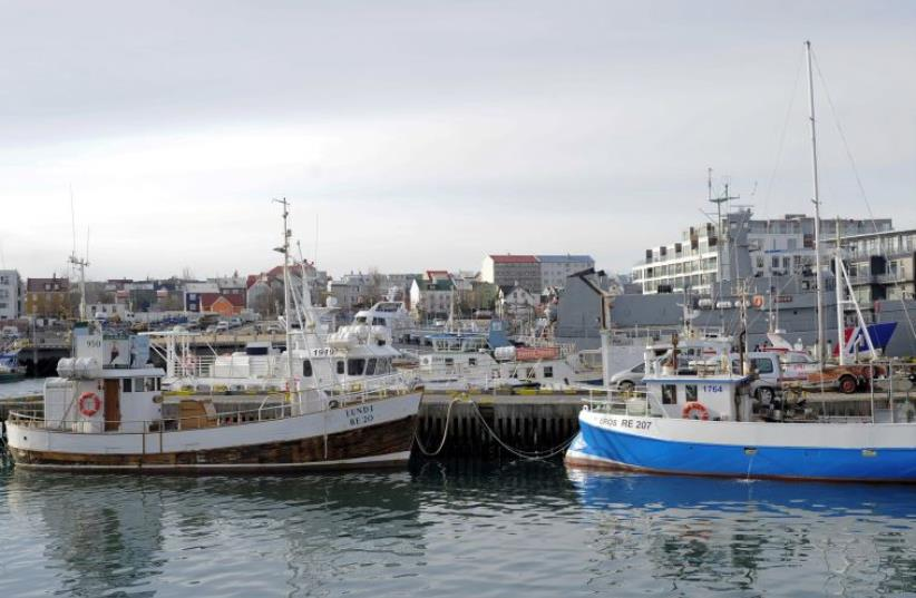 Fishermen's boats are seen docked at the Reykjavik harbour in Iceland March 24, 2015. (photo credit: REUTERS)