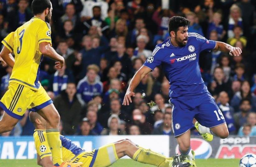 Chelsea beats Maccabi Tel Aviv 4-0 in Champions League Group G encounter, September 16, 2015 (photo credit: REUTERS)
