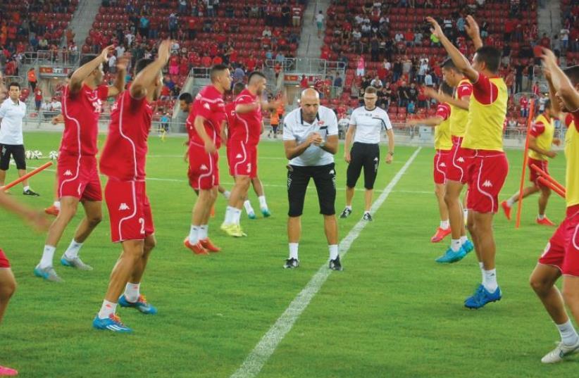 Hapoel Beersheba held its first training session at its new Turner Stadium (photo credit: TIMMY ABUKSIS)