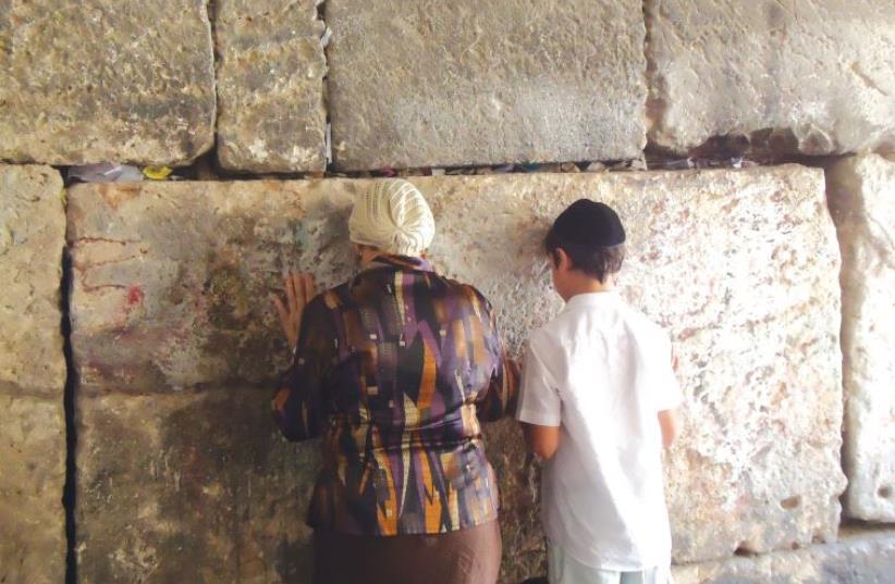 Baruch Israel and his grandmother at the Western Wall (photo credit: SARAH ISRAEL)