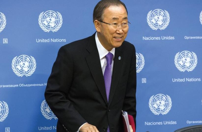 UNITED NATIONS Secretary General Ban Ki-moon arrives to address media at the UN headquarters (photo credit: REUTERS)