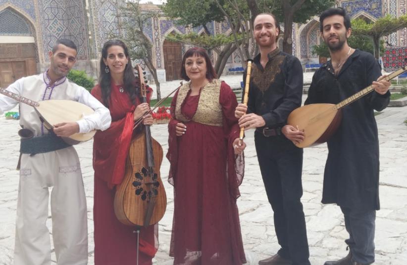 ISRAELI MUSICIANS (from left): Haim Itzhak, Rali Margalit, Ilana Eliya, Elad Kimchi and Idan Elmalem take part in the annual Sharq Taronalari music festival in Samarkand. (photo credit: VICTORIA MARTYNOV)