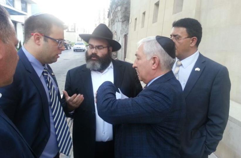 left MK Oren Hazan left, far right Mendi Safadi, center right Alexander Shapiro of Azerbaijan Jewish community, center left Azerbaijan Chabad... (photo credit: MENDI SAFADI)